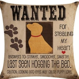 Pillow Cover-New- Dog wanted For Stealing My Heart